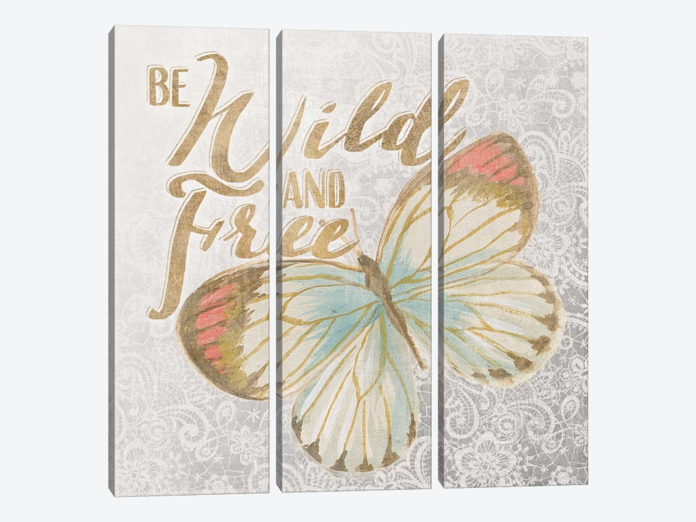 Textile Floral Butterfly IV by All That Glitters 3-piece Canvas Wall Art