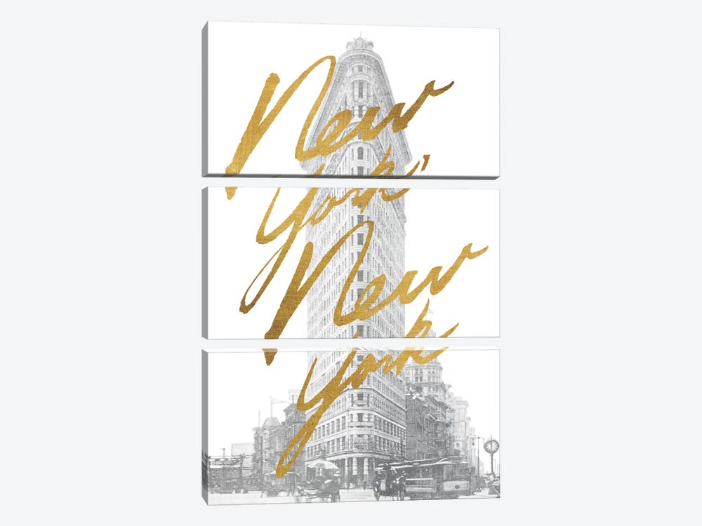 Gilded New York 3-piece Canvas Art Print
