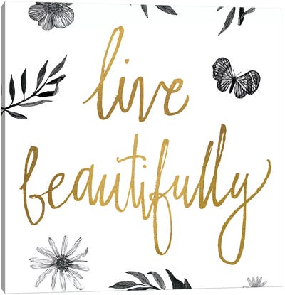 Live Beautifully BW Canvas Art Print