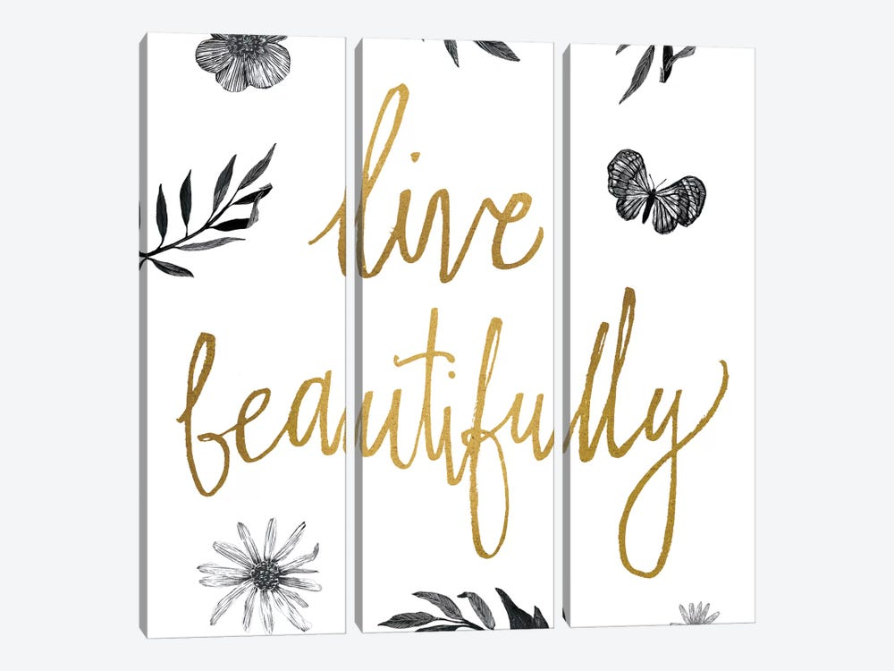 Live Beautifully BW by All That Glitters 3-piece Canvas Art Print