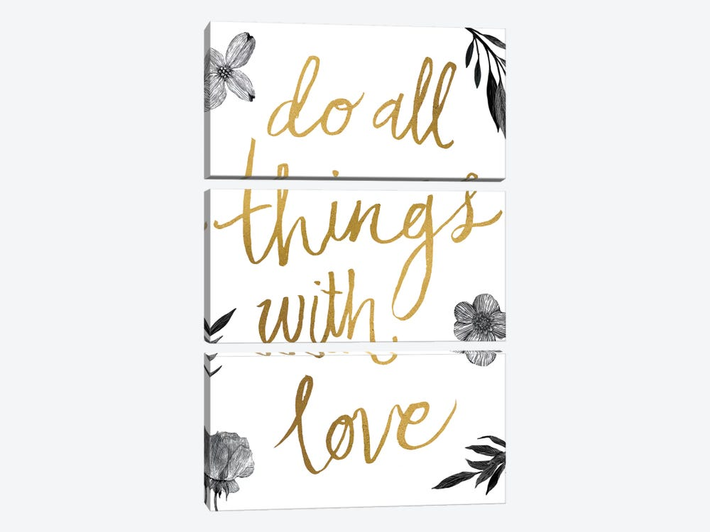 Live Beautifully Do All Things with Love BW by All That Glitters 3-piece Canvas Wall Art
