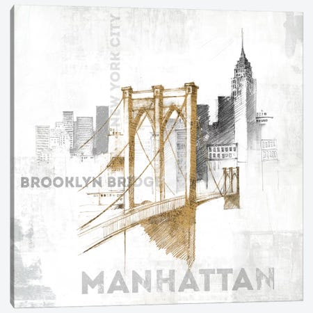 Brooklyn Bridge Canvas Print #WAC3227} by All That Glitters Canvas Print