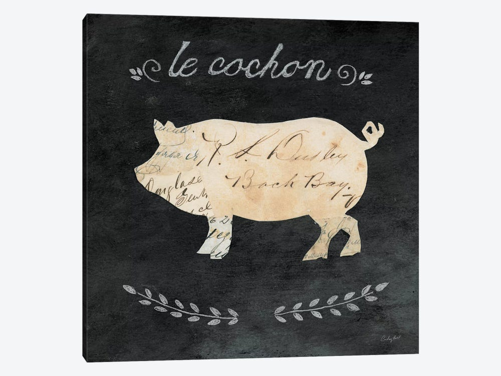 Le Cochon Cameo by Courtney Prahl 1-piece Canvas Wall Art