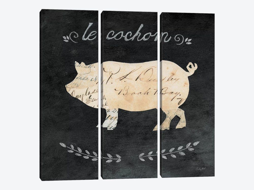 Le Cochon Cameo by Courtney Prahl 3-piece Canvas Wall Art