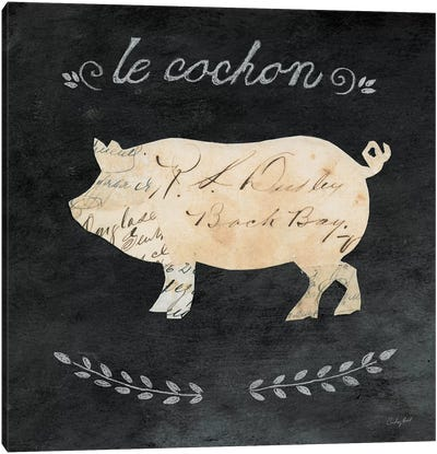 Le Cochon Cameo Canvas Art Print