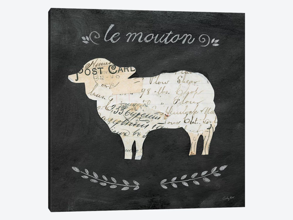 Le Mouton Cameo by Courtney Prahl 1-piece Canvas Wall Art