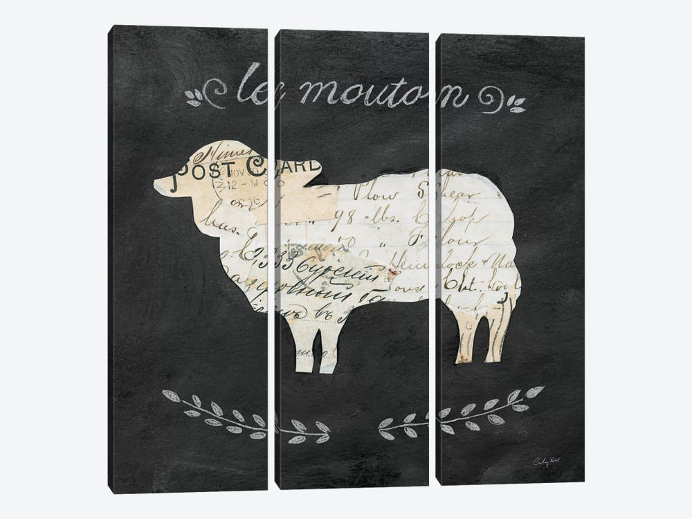 Le Mouton Cameo by Courtney Prahl 3-piece Canvas Wall Art