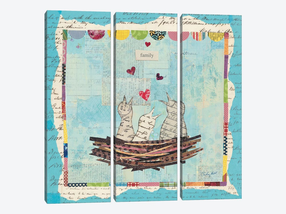 Blue Love Birds by Courtney Prahl 3-piece Canvas Artwork