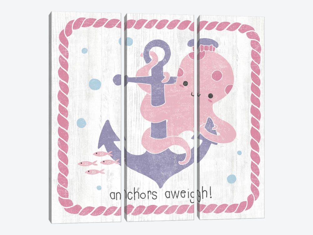 Nautical Friends III Girly by Moira Hershey 3-piece Canvas Artwork