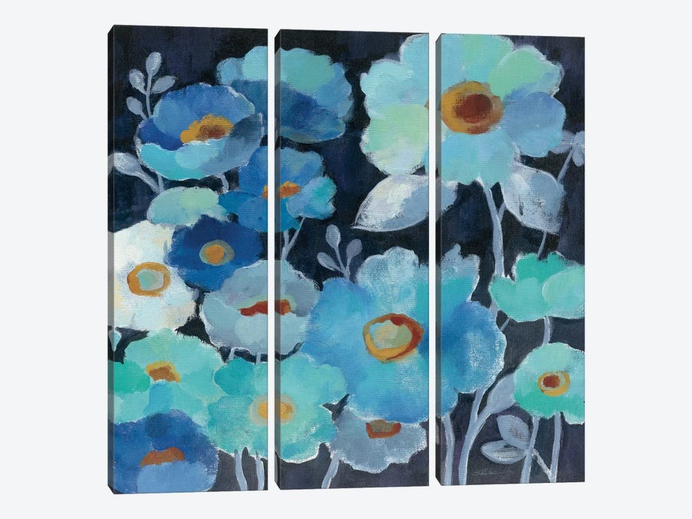Indigo Flowers III 3-piece Art Print