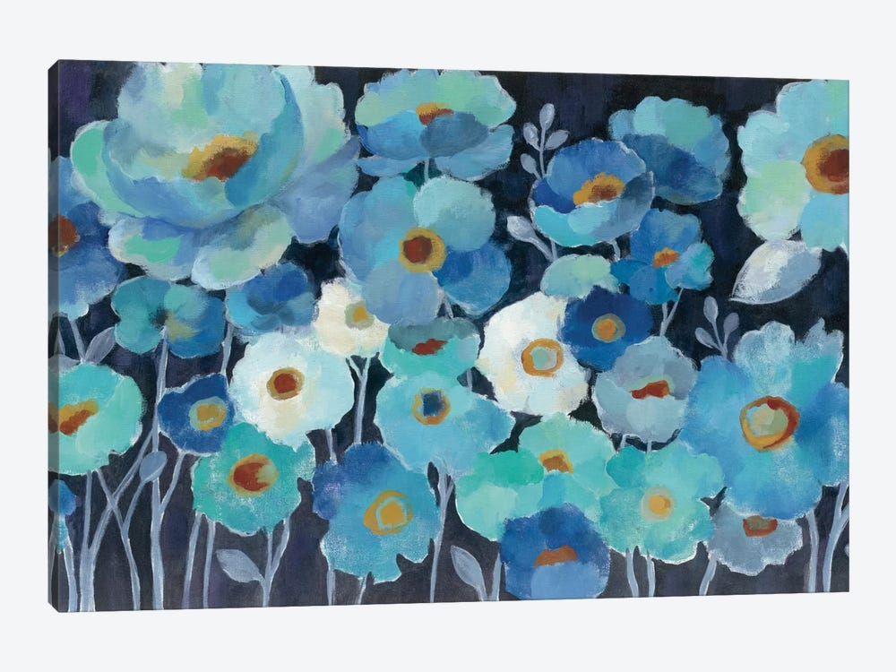 Indigo Flowers I by Silvia Vassileva 1-piece Canvas Artwork