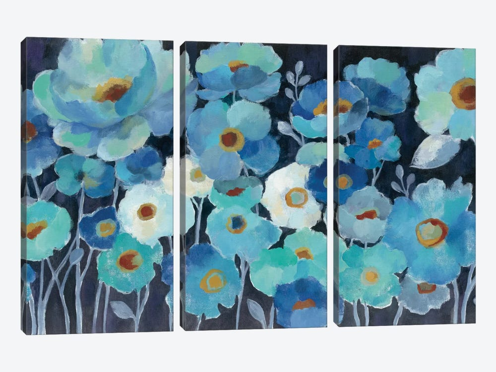 Indigo Flowers I 3-piece Canvas Artwork