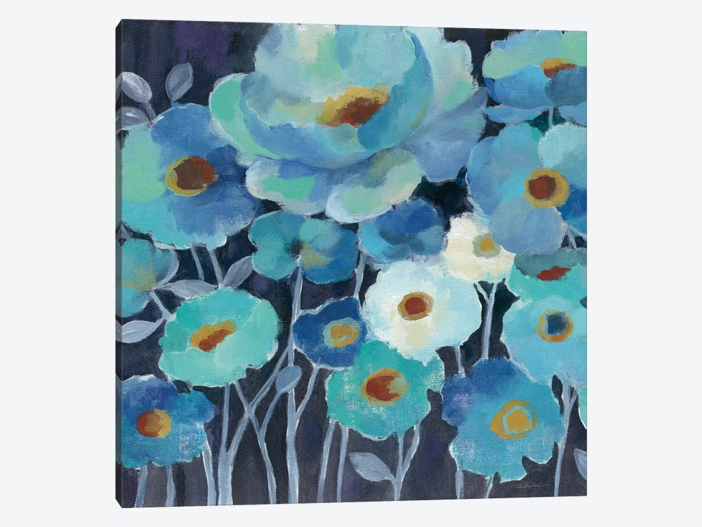 Indigo Flowers II by Silvia Vassileva 1-piece Canvas Art Print