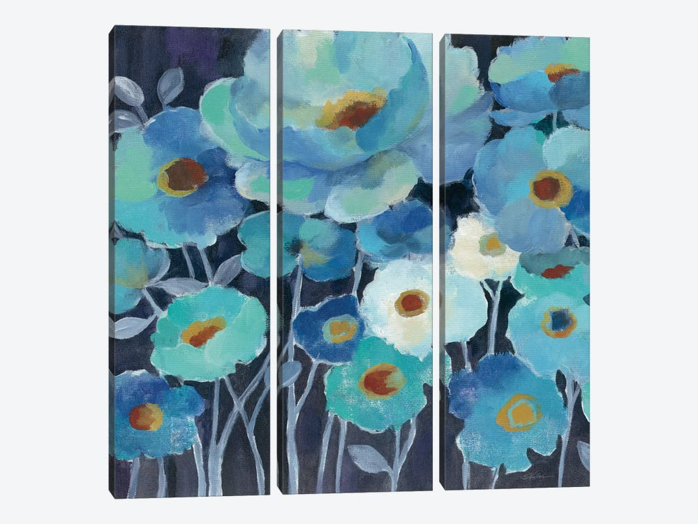 Indigo Flowers II by Silvia Vassileva 3-piece Canvas Art Print
