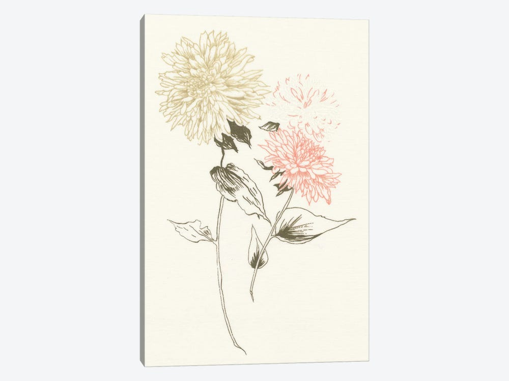 Flowers on White IV 1-piece Canvas Print