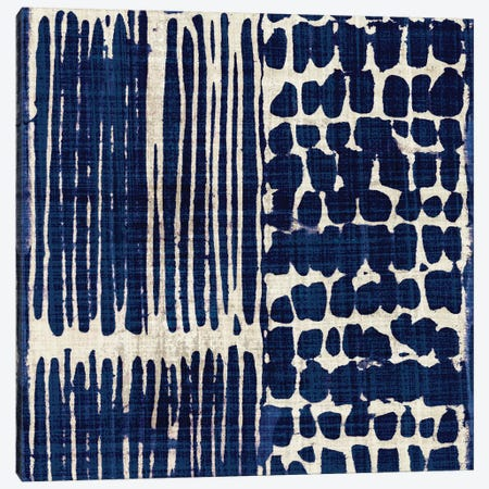 Indigo Batik III Canvas Print #WAC3311} by Wild Apple Portfolio Canvas Artwork