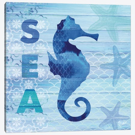 Sea Glass Seahorse Canvas Print #WAC3336} by Studio Bella Canvas Art Print