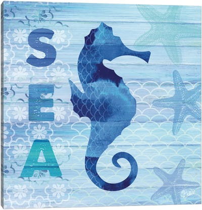 Sea Glass Seahorse Canvas Art Print