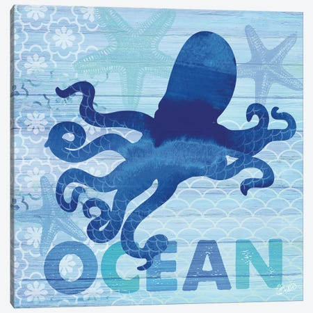 Sea Glass Octopus Canvas Print #WAC3337} by Studio Bella Canvas Print