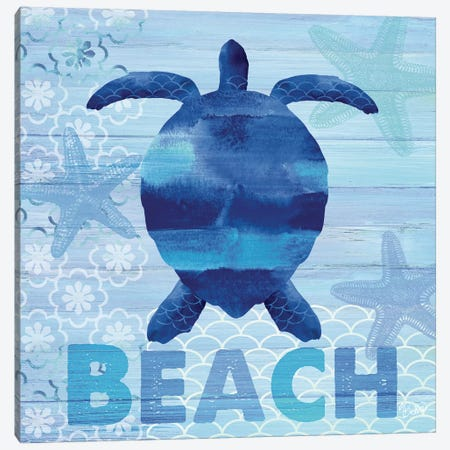 Sea Glass Turtle Canvas Print #WAC3338} by Studio Bella Canvas Art