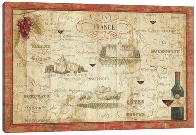 Wine Map by Daphne Brissonnet Canvas Art Print