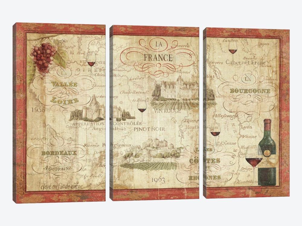 Wine Map by Daphne Brissonnet 3-piece Canvas Art Print