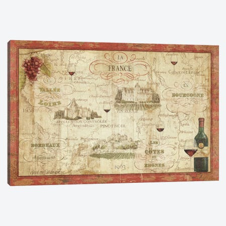 Wine Map 3-Piece Canvas #WAC334} by Daphne Brissonnet Art Print