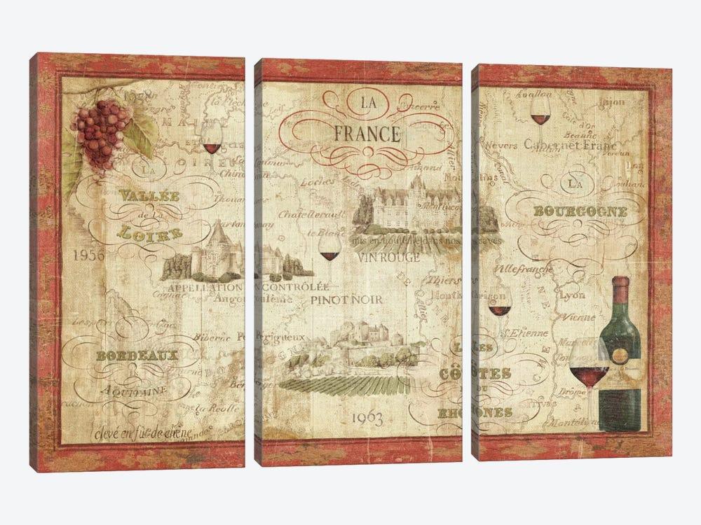 Wine Map by Daphne Brissonnet 3-piece Canvas Art Print