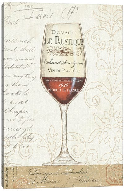 Wine by the Glass I  Canvas Print #WAC346