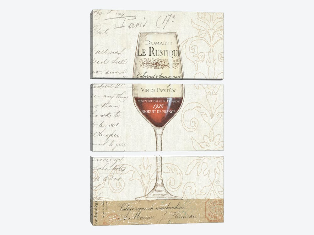 Wine by the Glass I by Daphne Brissonnet 3-piece Canvas Artwork