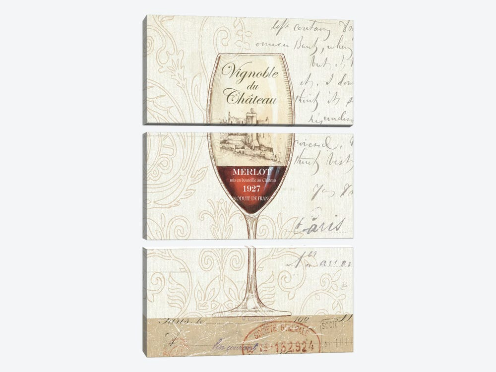 Wine by the Glass II by Daphne Brissonnet 3-piece Canvas Print