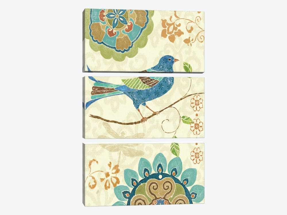 Eastern Tales Birds I by Daphne Brissonnet 3-piece Canvas Print