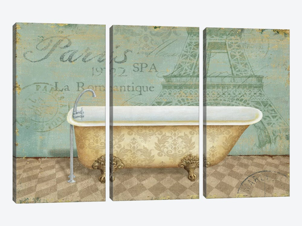 Voyage Romantique Bath I  by Daphne Brissonnet 3-piece Canvas Print