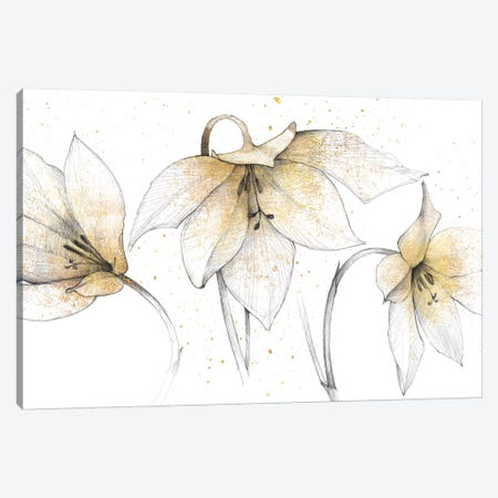 Gilded Graphite Floral Trio Canvas Print #WAC3706} by Avery Tillmon Canvas Art