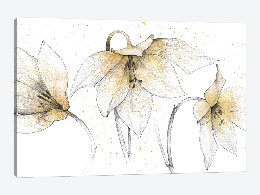 Gilded Graphite Floral Trio 1-piece Art Print