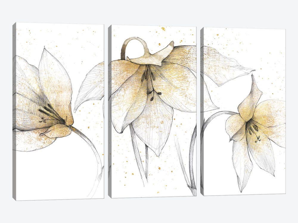 Gilded Graphite Floral Trio by Avery Tillmon 3-piece Art Print