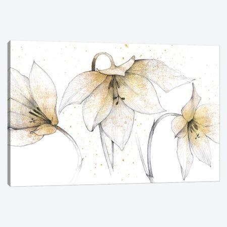 Gilded Graphite Floral Trio Canvas Print #WAC3706} by Avery Tillmon Canvas Art