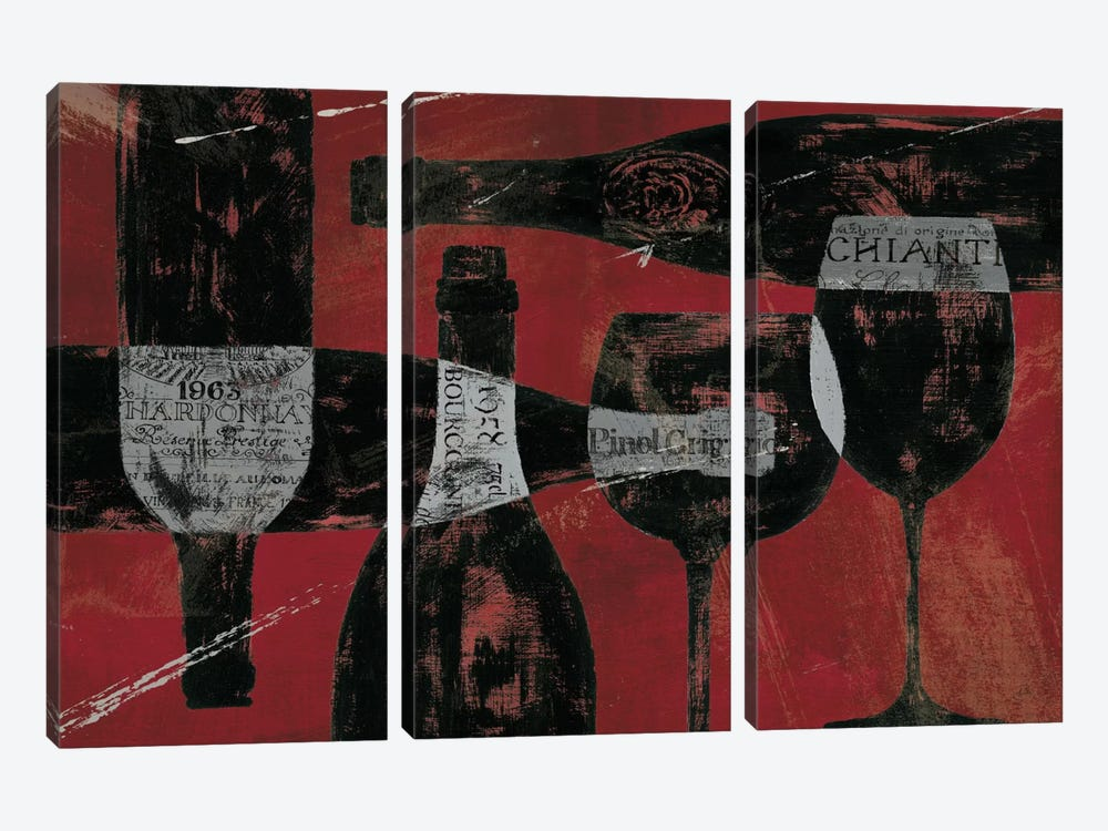 Wine Selection III Red by Daphne Brissonnet 3-piece Canvas Artwork