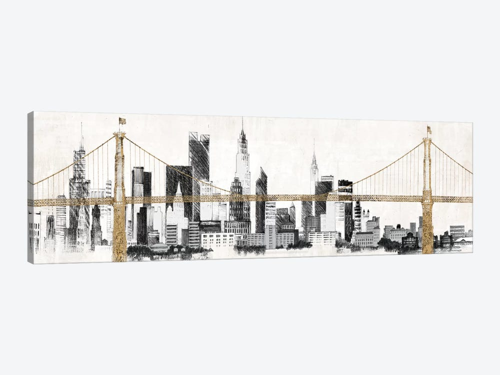 Bridge and Skyline 1-piece Canvas Print