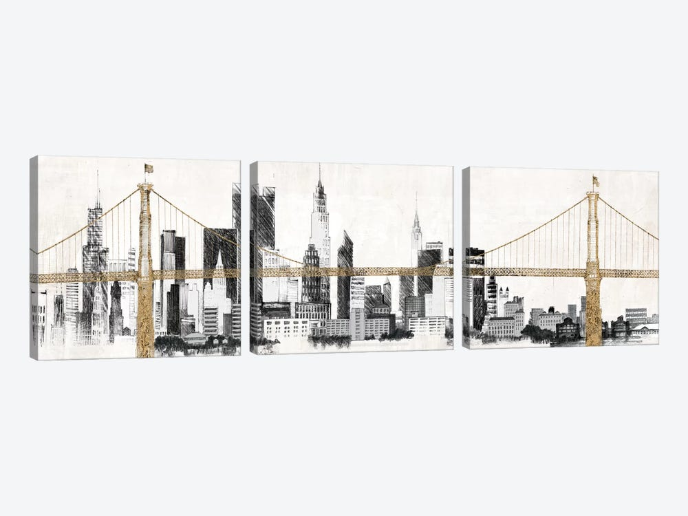 Bridge and Skyline by Avery Tillmon 3-piece Canvas Print