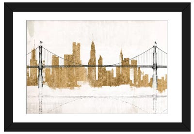 Bridge and Skyline Gold Framed Art Print