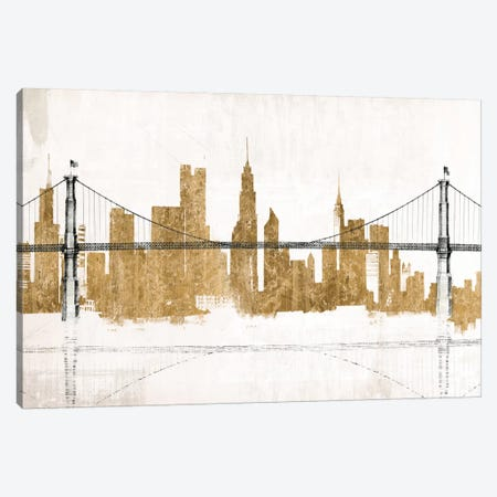 Bridge and Skyline Gold Canvas Print #WAC3807} by Avery Tillmon Art Print