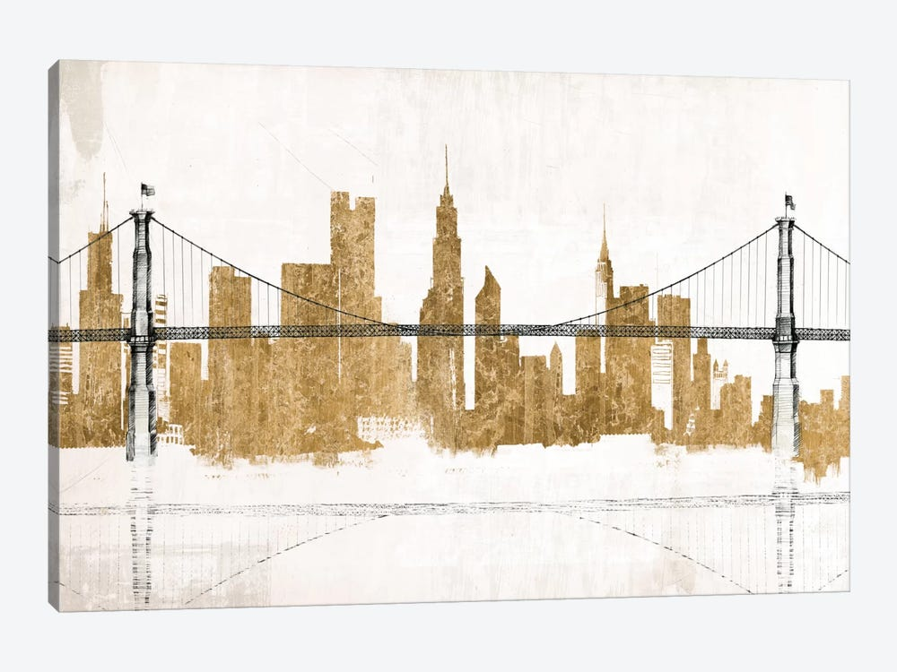 Bridge and Skyline Gold 1-piece Canvas Art