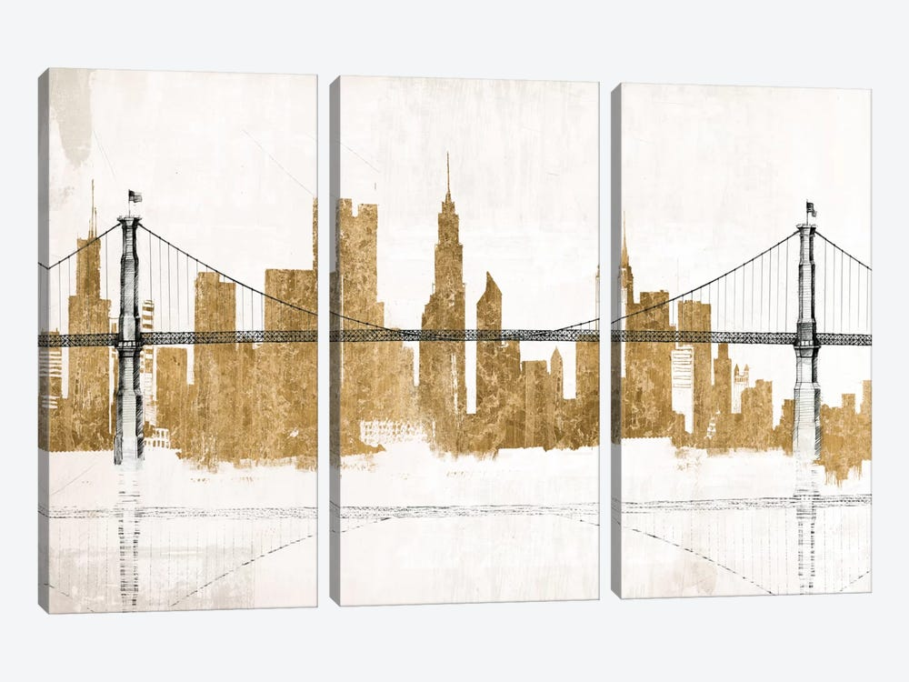 Bridge and Skyline Gold 3-piece Canvas Artwork