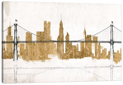 Bridge and Skyline Gold Canvas Art Print