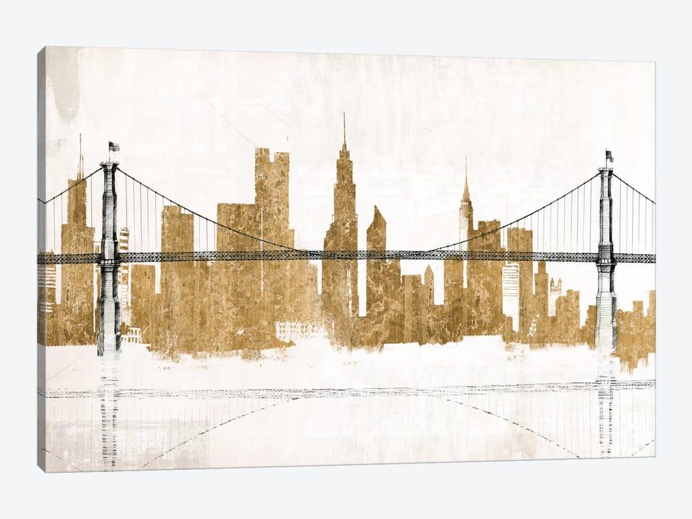 Bridge and Skyline Gold by Avery Tillmon 1-piece Canvas Art