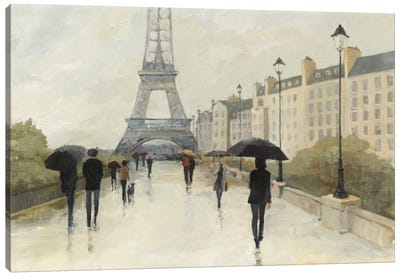 Eiffel in the Rain Canvas Art Print