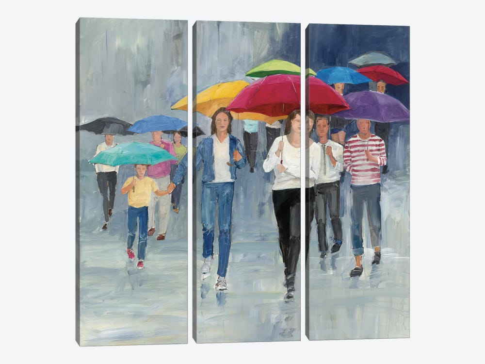 Just Walkin' In The Rain by Avery Tillmon 3-piece Canvas Artwork