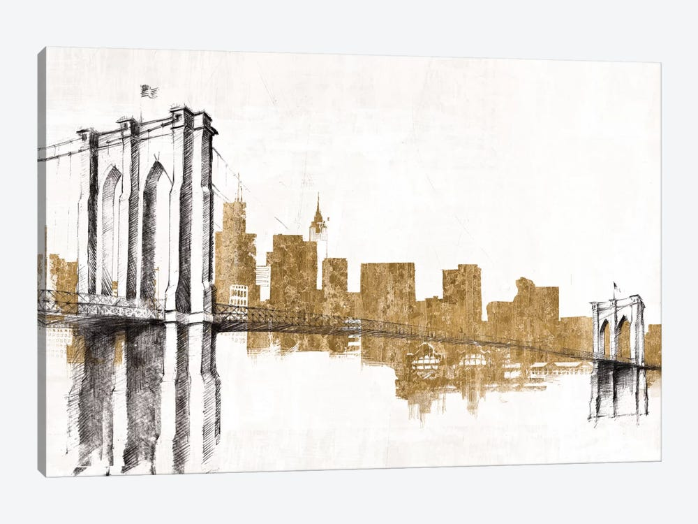 Skyline Crossing (Gold) 1-piece Canvas Art