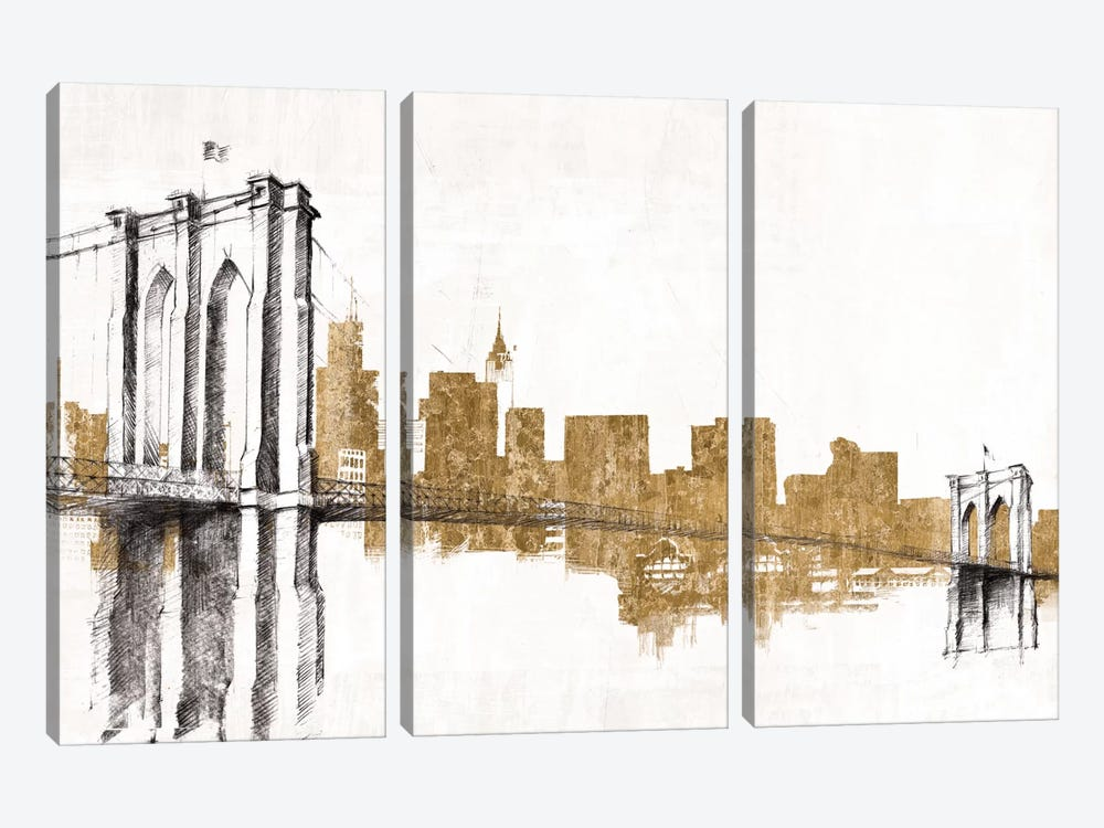 Skyline Crossing (Gold) 3-piece Canvas Wall Art